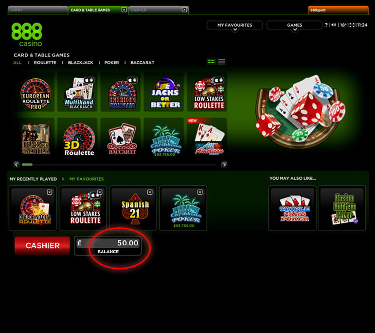 Successful 888 Casino Deposit Completed
